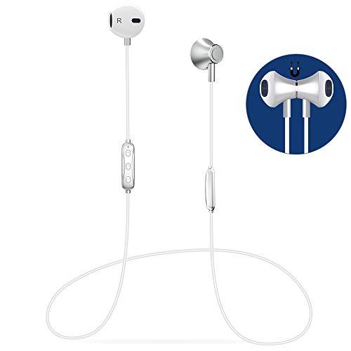 Auricular Bluetooth V4.1 Magnético In-Ear Auriculares Deportivos con Duración 6-8 Horas, Cascos Bluetooth Inalámbricos con Cancelación de Ruido, Estéreo, Sweatproof IPX4 para Android etc Smartphones