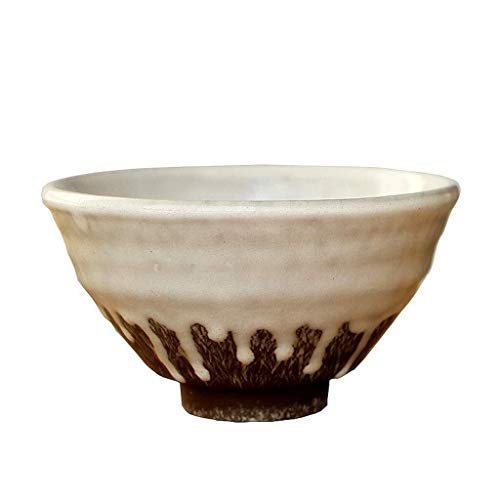 Tazón Retro vajilla de cerámica en bruto, esmaltes cerámicos tazón de ensalada de la casa de gachas una pequeña de 5,5 pulgadas vajillas hogar, tazón retro (Color : Dark Green)