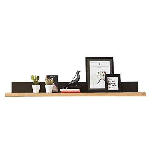 Bianco Wandboard teil-massiv aus Wildeiche - hochwertiges & vielseitig einsetzbares Wandregal - 160 x 16 x 25 cm (B/H/T)