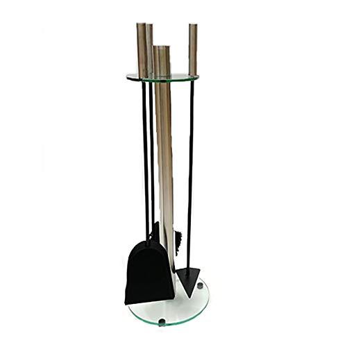 LDMD Kamin Werkzeug Sets Glasboden Kamin Werkzeugset, 5 Stück Schmiedeeisen Kamin Begleiter Set, Kamin Pit Holzofen Zubehör Kit, 66Cm H.