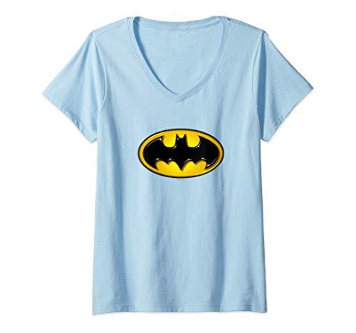 Damen Batman Airbrush Bat Symbol T-Shirt mit V-Ausschnitt