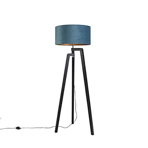 QAZQA Landelijk/Rustiek Vloerlamp tripod zwart met blauwe kap en goud 50 cm - Puros Hout/Stof Cilinder/Langwerpig/Rechthoekig Geschikt voor LED Max. 1 x 60 Watt