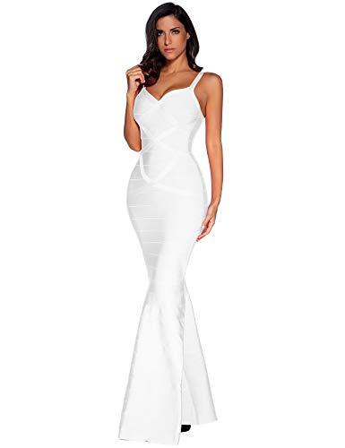Meilun - Vestido largo para mujer, cola larga, vestido maxi, de noche, formal, con diseño tipo vendaje - Blanco - Small