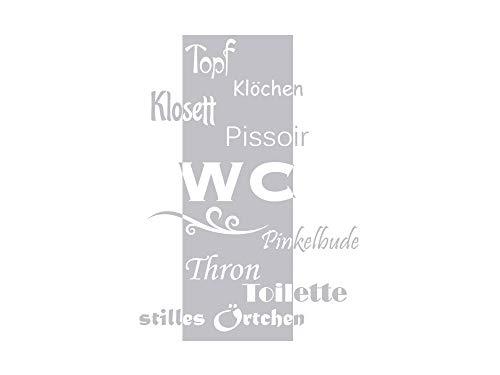 GRAZDesign Fenstertattoo WC/Toilette/Stilles Örtchen, Fensteraufkleber fürs Badezimmer, Glastattoo Bad-Fenster / 56x40cm