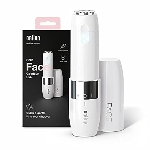 Braun Mini Hair Remover, Electric Facial Hair Removal for Women, Quick & Gentle, Finishing Touch for Upper Lips, Chin & Cheeks, for Easier Makeup Application, Ideal for On-the-Go, with Smartlight