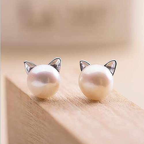 Landia Creativo Simple artesanía Lindo Animal 925 Plateado pequeño Gato Hueco Perforado Perla Pendientes de Mujer SE64