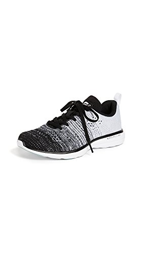 APL: Athletic Propulsion Labs Women's Techloom Pro Sneakers, Black/Heather Grey/White, 9.5 Medium US