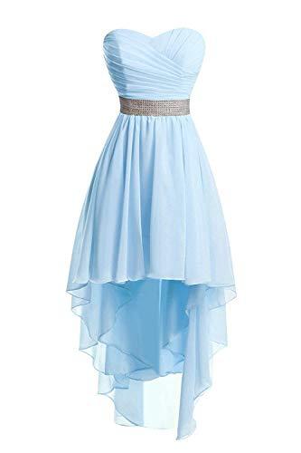 JAEDEN Ballkleider Damen Brautjungfernkleid Hochzeit Partykleid Herzausschnitt Abendkleid Vorne Kurz Hinten Lang Himmelblau EUR50