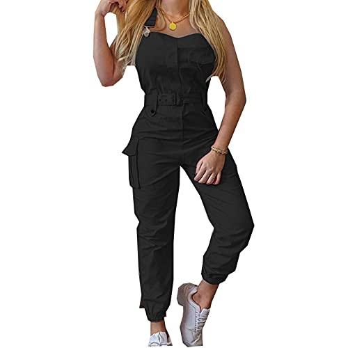 Mono De Color SóLido para Mujer Pantalones Cargo Monos Sin Mangas Pantalones Limitados Simples