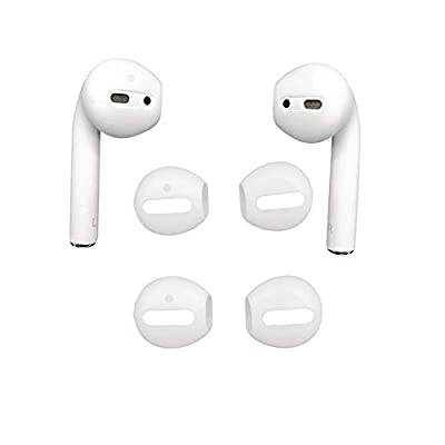 DamonLight Fit in The case Airpods Earpods Covers Anti-Slip Silicone Soft Sport Covers Accessories Apple AirPods Earbud airpods eartips 2 Pairs White (NOT include airpods) by DamonLight