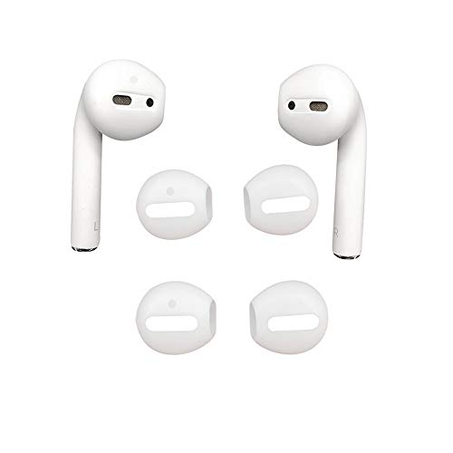 DamonLight Replacement Soft Silicone Antislip without Ear Hook Earbuds Tips for AirPods 2 Pairs White {Fit in the Case}(2.0 Version)