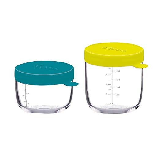 Béaba Bote de conservación de vidrio para comida de bebé, con indicador de cantidad, Resistente al calor y a las diferencias térmicas, para bebés y niños, Hecho en Francia, 400 ml, Azul/Amarillo(Neón)