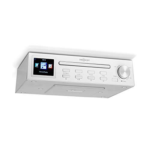 oneConcept Streamo Chef Radio de Cocina - Radio por Internet, Reproductor de CD, Bluetooth, App Control, Temporizador de Apagado, Función de Alarma, Pantalla HCC, Potencia RMS: 2 x 2 W, Blanco