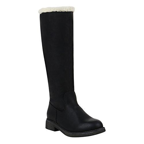 Klassische Damen Stiefel Warm Gefütterte Boots Winter Schuhe 152511 Schwarz Agueda 40 Flandell