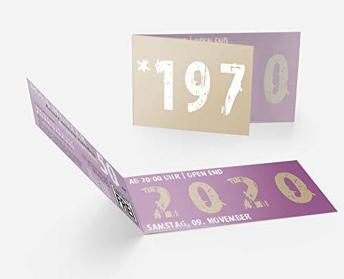 Runder Geburtstag Einladungskarten 50 Jahre Geburtstagseinladungen - Zeitsprung Einladung für runden Geburtstag 50er Feier Lila-Beige (10)