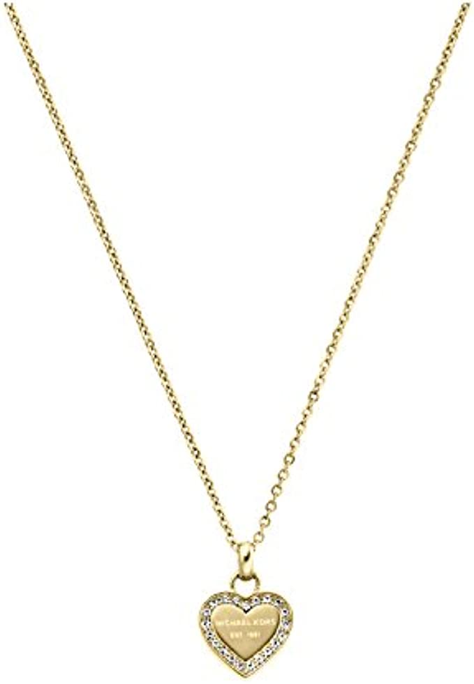Michael Kors Logo Gold-Tone and Crystal Pendant Necklace