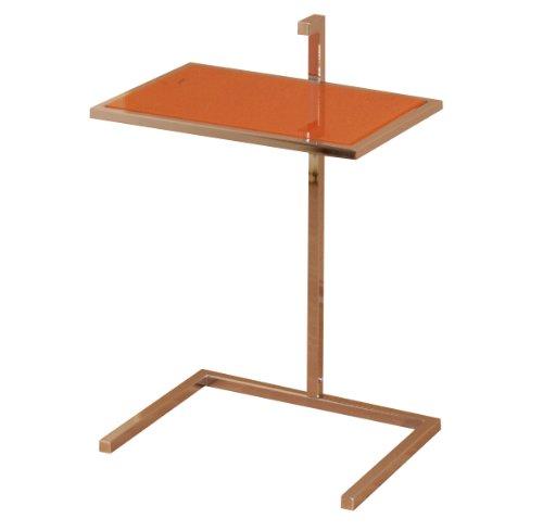 Heinz Hofmann 2934.COR Beistelltisch / Orange Glasplatte / Verchromt / B. 42 x T. 30 x H. 60 cm