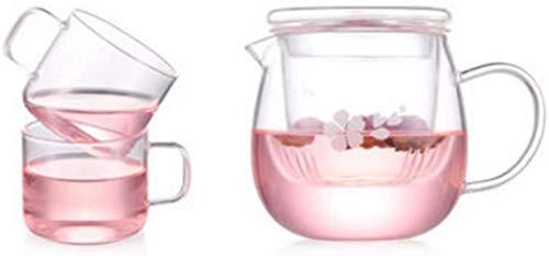 Tetera de cristal Tetera Taza Tetera de cristal a prueba de calor del sistema de té de alta temperatura del filtro del hogar Botella de agua de la tetera taza de té rosa corazón de la muchacha (Estilo