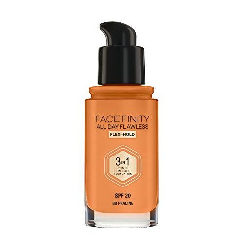 Max Factor Facefinity All Day Flawless 3 In 1 Foundation In 88 Praline– Primer, Concealer & Foundation In Einem – Für Ein Perfekt Mattiertes Finish