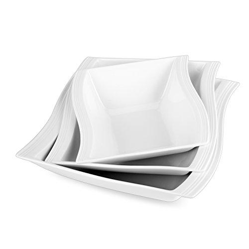 MALACASA, Serie Flora, 3 Teiligen Set CremeWeiß Porzellan 10&8,5&7 Zoll Schüssel Salatschüssel MüsliSchäle Schäle Schälchen Eckig