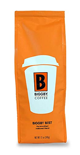 Ground Coffee by BIGGBY COFFEE | Medium Roast BIGGBY BEST Flavor 12oz Bag | Columbian Coffee Grounds Bagged in USA | Roasted Coffee Beans Perfect for: Coffee Maker, Pour Over, & French Press | Enjoy in Mug or Tumbler