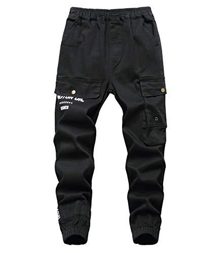 YoungSoul Jungen Cargo Hose Jogger Kinder Slim Fit Jogginghose mit elastischem Bund Schwarz 134-140/Größe 140
