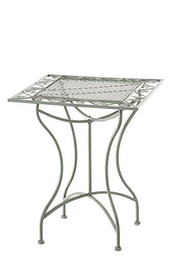 Table de Jardin Carrée Asina en Fer Forgé - Table de Balcon ou Terrasse de Style Nostalgique Surface 60x60 cm - Table d'Extérieur pour Jardin - Couleur:, Couleurs:Antique-Vert