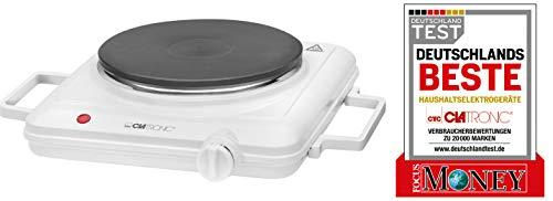Clatronic EKP 3582 Einzelkochplatte, ca. 180 mm Ø, stufenlos regelbarer Thermostat, weiß