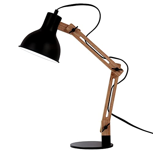 FIRVRE Lámpara de Escritorio de-Brazo Oscilante de Madera, LáMpara de Mesa de Arquitecto Ajustable, Luz de Trabajo, para Estudiar Oficina Cuarto Residencia Universitaria, Enchufar (Negro)