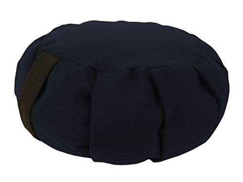 Bean Products Zafu Meditation Cushion - Handcrafted in The USA with Organic Materials - Removable Zipper Cover for Easy Cleaning - Filled with 100% Organic Natural Buckwheat - Organic Navy