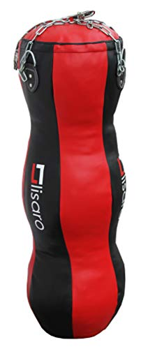 Lisaro Heavy Duty Body Punch Bag, MMA Boxsack, Spezial BOXSACK, Boxsack Kombo - Kniestöße Bag Gr.120cm, Farbe: rot-schwarz