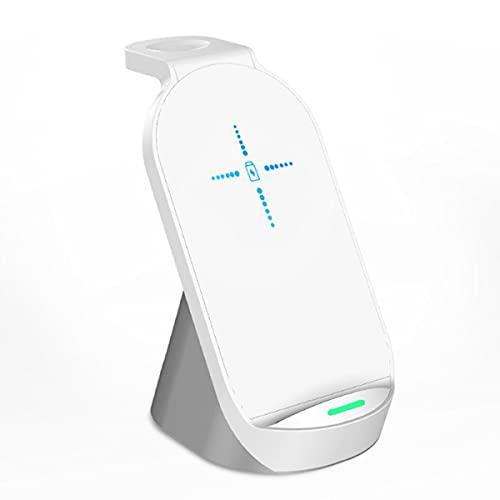 Cargador Inalámbrico De Escritorio De 15W, 3 En 1 En 1 Watch Auricular Qi Fast Wireless Carga para iPhone 12/11 / 11 Pro / 11PRO MAX/X/XS/XR/XS MAX / 8/8 Plus, Serie De Relojes,Blanco