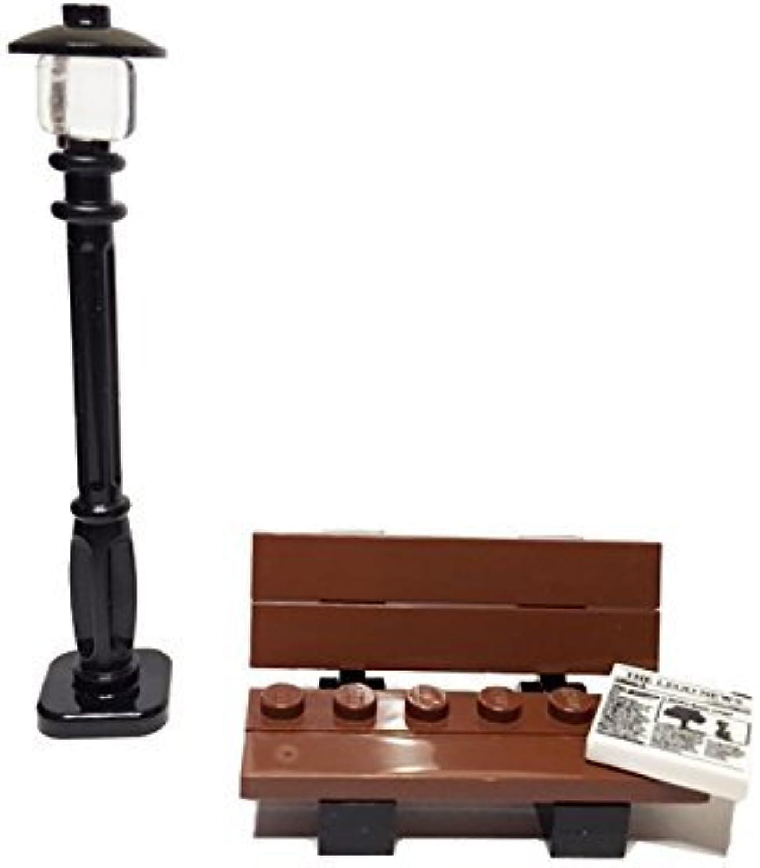 BrickPicks Bundle  PARK -- Lego Street Lamp, Park Bench, Lego News Newspaper