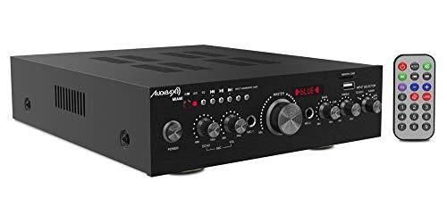 Audibax Miami Amplificador HiFi, Receptor Bluetooth Incorporado, Función Karaoke, Amplificador de Sonido con Excelente Calidad, Mando a Distancia, Entrada SD y USB, Potencia 100W + 100W