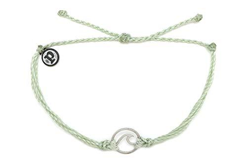 Pura Vida Silver Wave OG Mint Green Bracelet - Silver Plated Charm, Adjustable Band - 100% Waterproof