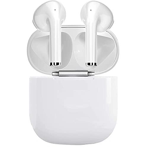 I12 TWS Auriculares Bluetooth, Bluetooth 5.0 Auriculares Deporte HiFi mejorados, con Estuche de Carga y micrófono Integrado Incorporado, Carga rápida y Resistente al Agua In-Ear Auriculares-Blanco