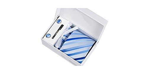 Coffret Dallas - Cravate bleu ciel à rayures bleu électrique et bleu roi, boutons de manchette, pince à cravate, pochette de costume
