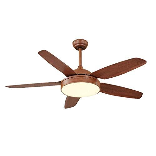 Ventilador de luz estilo retro americano para sala de estar, comedor con luz de techo, ventilador de techo, luz industrial, ventilador eléctrico simple (color: marrón, tamaño: 132 cm)