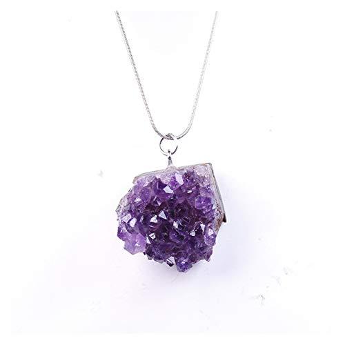 TZZD Natural crystal Necklace Raw Amethyst Quartz Purple Crystal Cluster pendant Stones Specimen Home Decoration Crafts (Color : Amethyst)