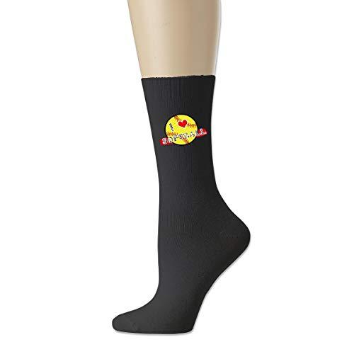 Mädchen Love For The Softball Unisex Baumwolle Crew Socken Casual Strumpf Gr. Einheitsgröße, Schwarz