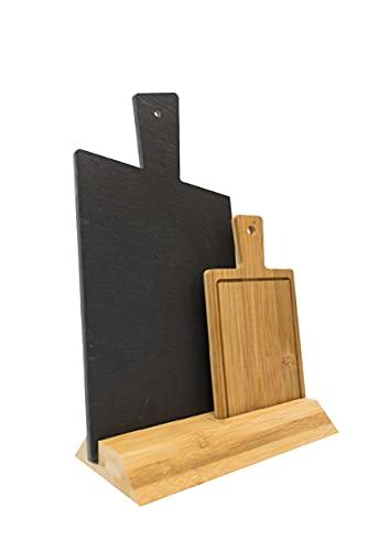 Juego de 2 Tablas de Cortar con soporte, Tabla de Pizarra para Cocina 16 x 23 (tabla con mango 30 cm), MINI Tabla de Cortar de Madera de Bambú con Surcos para Líquidos 11 x 14 (con mango 19cm)