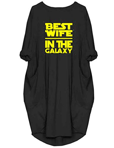 Peceony Women's Best Wife in The Galaxy Long Sleeve Loose Casual Dresses with Pockets Black, XL