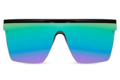 Cheapass Sunglasses Gafas de sol Masivas Oversized XXL Negro Pantalla Onepiece Arco iris Lentes espejadas UV400 para mujer