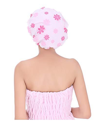 MEIZHIJIA Douche Cap Waterdichte Adult Women'S Print Dubbele Badmuts Haar Masker Douche Cap Droog Haar Cap