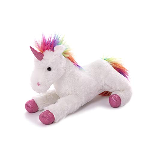 Plushland Fluffy Plush Rainbow Unicorn Stuffed Animal Toy 14 Inches - Cuddly Autism ADHD Soft Magical Gifts Present Birthday Love Girlfriend Pal Buddies Friendship