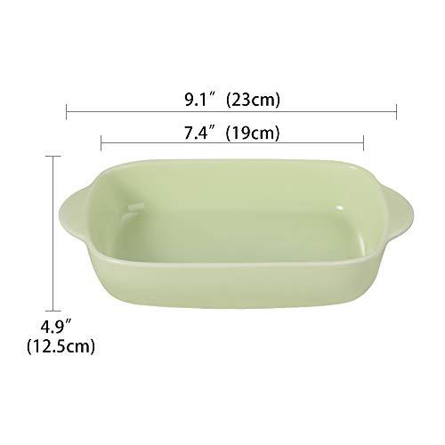 グリーン セラミック 長方形 耐熱 グラタン皿 ハンドル付き ベーキングディッシュ オーブン対応 電子レンジ対応