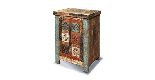 Crafters and Weavers Rustic Distressed Reclaimed Hand Carved Wood End Table or Night Stand