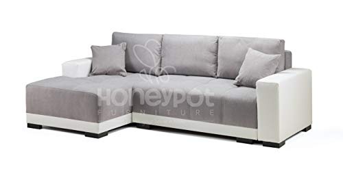 Honeypot - Cimiano - Corner - Sofa bed - Faux Leather/Fabric (White/Grey,...