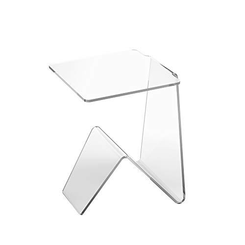 LuceSolida - 'Flow' Tavolino in Plexiglass Lato Divano con Portariviste Trasparente da Salotto o Camera (L40xP40xH56)