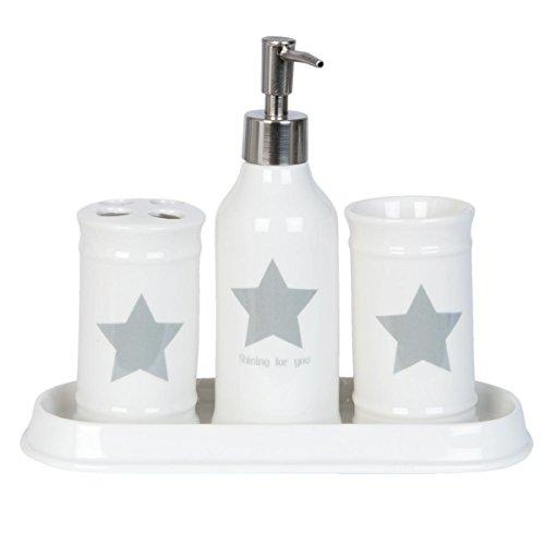 Clayre & Eef 63370 Set di 4 accessori da bagno, con dispenser per sapone liquido e bicchieri porta spazzolini, motivo: stella